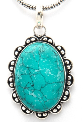 Spiritually related products materials turquoise gemstone base metal silverplated clasp hook and eye dimensions pendant 58 mm long x 37 mm wide x aloadofball Choice Image